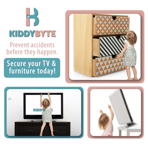 KiddyByte™ Anti-Tip TV & Furniture Straps