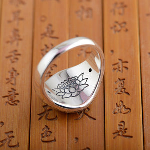 Buddhist Lotus Mantra Silver Ring