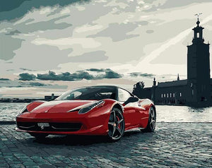 Red Sports Car - PicArtSo™ Paint-by-Number Kit