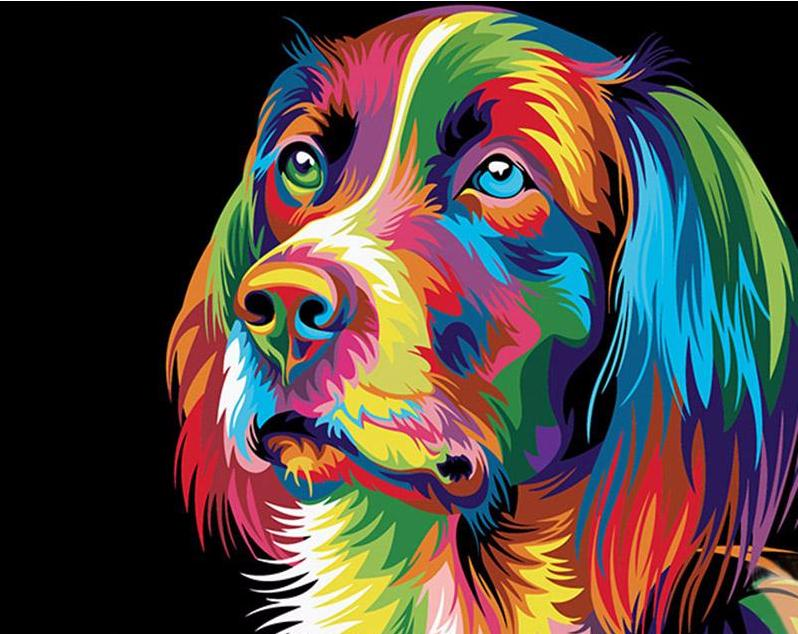 Abstract Colorful Dog - PicArtSo™ Paint-by-Number Kit