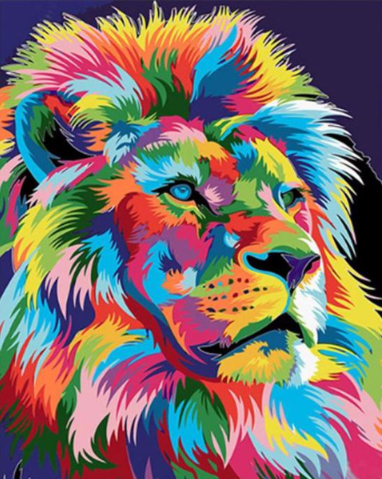 Oil Painting Colorful Lion