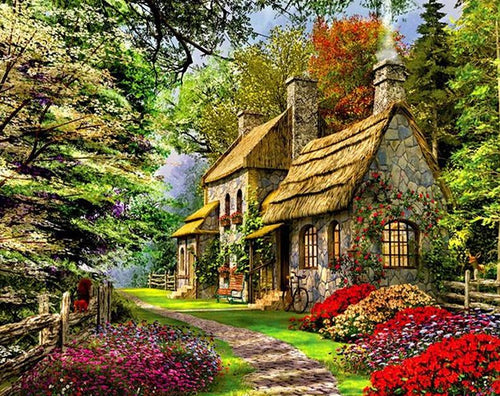 Garden Cottage House - PicArtSo™ Paint-by-Number Kit