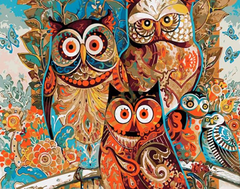 vintage abstract owl picartso paint by number kit cool colony