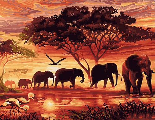 Elephants in Sunset - PicArtSo™ Paint-by-Number Kit