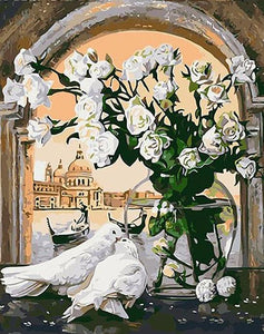 White Flowers And Pigeons - PicArtSo™ Paint-by-Number Kit