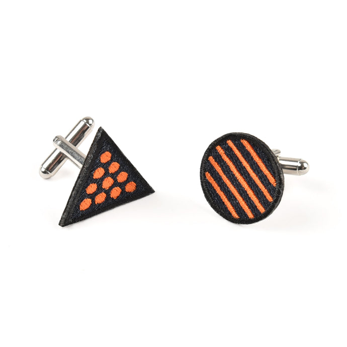 Circle & Triangle Orange Cufflinks