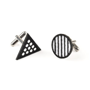 Circle & Triangle Black Cufflinks