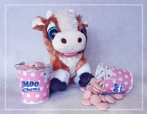 Moo Chews singing soft toy cow