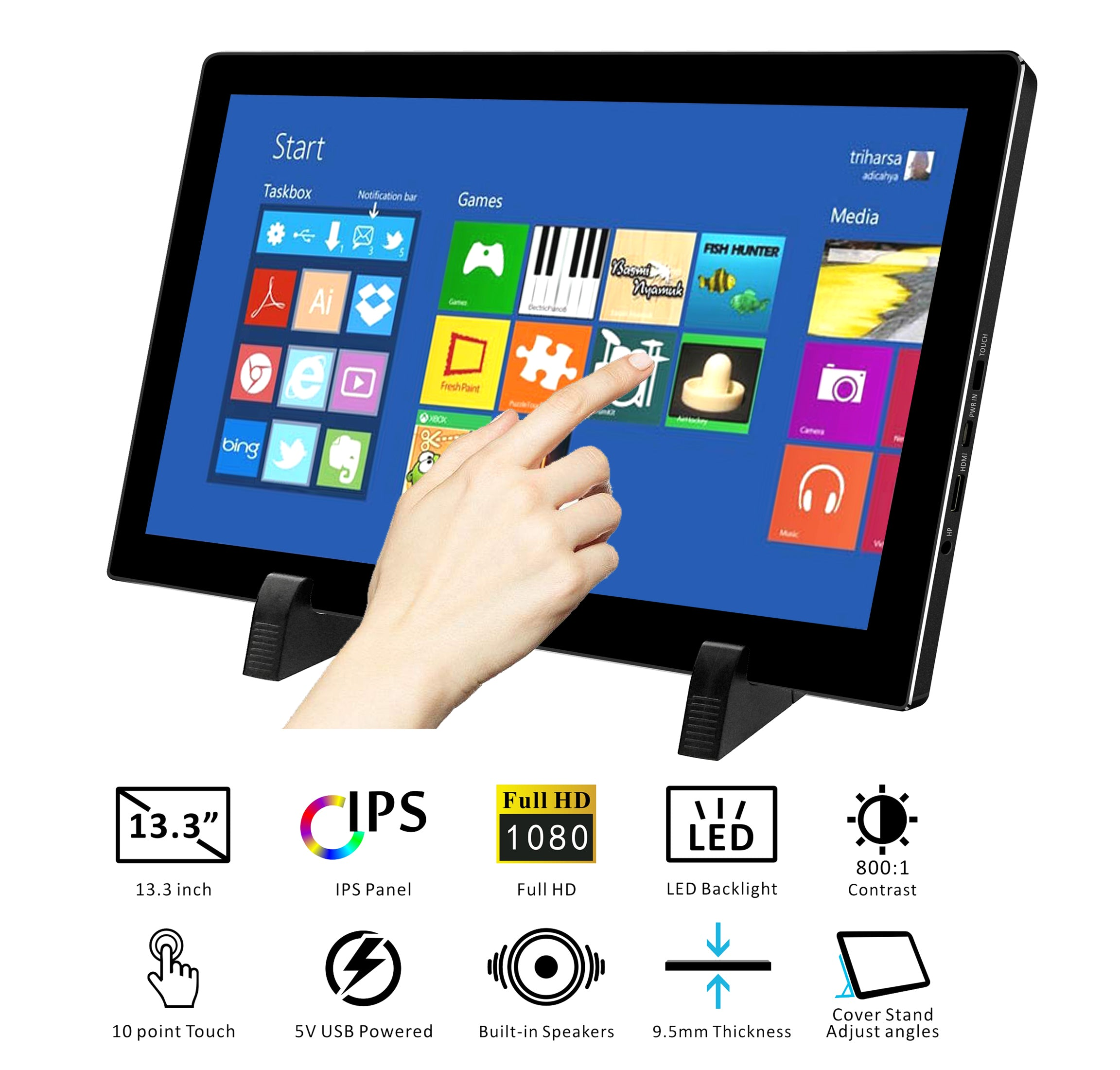 13 3 Inch 1080p Fhd Capacitive Touch Portable Monitor Usb Powered