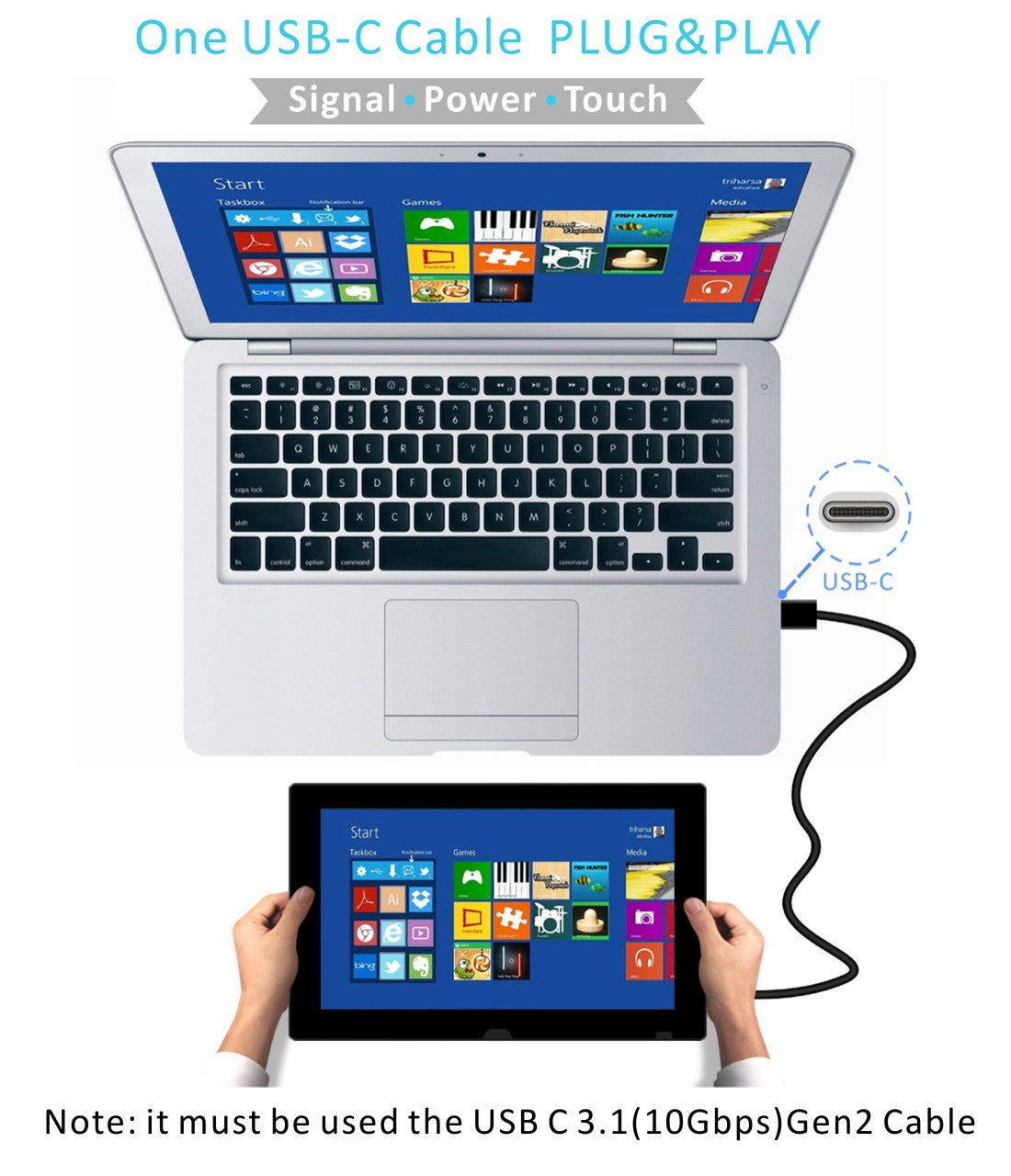 11 6 Inch 1080p Fhd Usb C Capacitive Touch Portable Monitor T116d