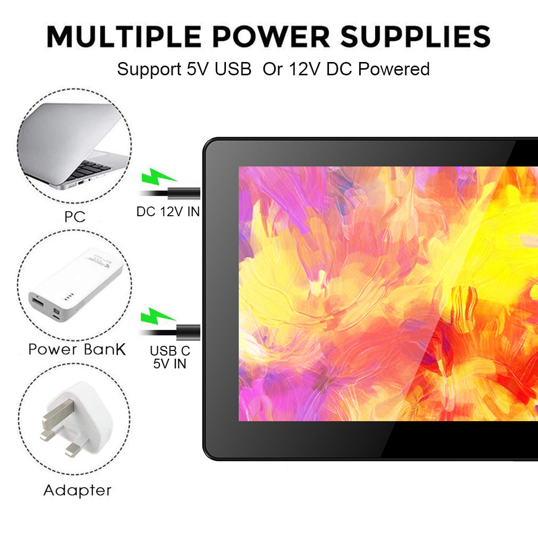 7 Inch 1024 * 600 Resolution Touch Monitor with HDMI input,USB 5V /12V  powered,Built-in Speakers,Aluminum case with stand(T007-1)