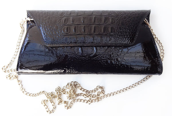 'CROC' leather clutch