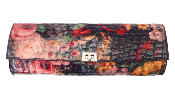 'FLORAL' leather clutch