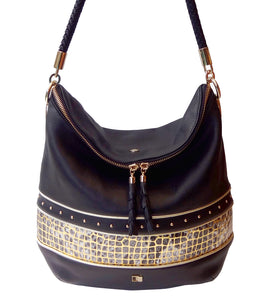 'PRAGUE' black and gold leather bag
