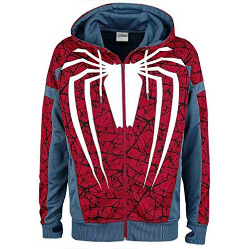 Spider-man PS4 Game Outfit Full Length Zipper Hoodie