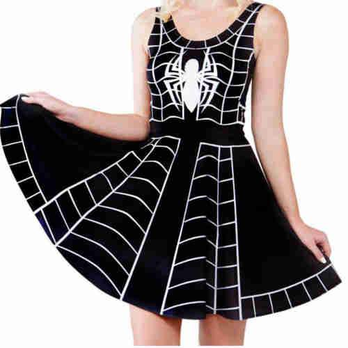 Black Spider Skater Dress