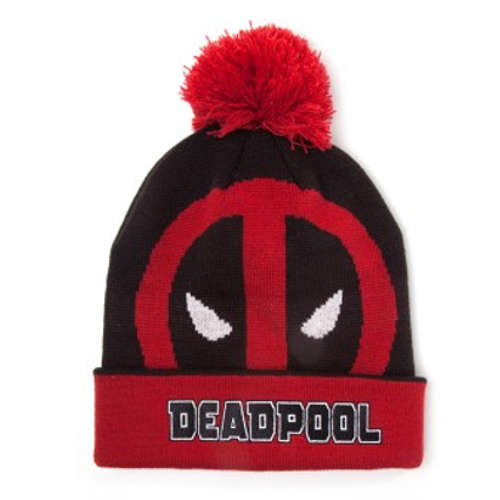 Deadpool Face Roll-up Cuffed Beanie with Pompom