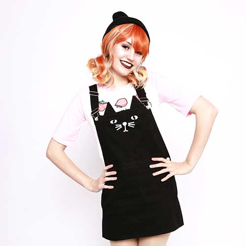Neko Kitty Cat Mini Dungarees Dress