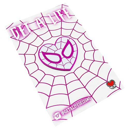 SPIDEY LOVE - Pink & White Spider-Gwen Heart Enamel Pin