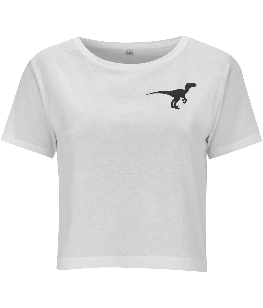 Clever Girl Dino Cropped Jersey T-shirt White