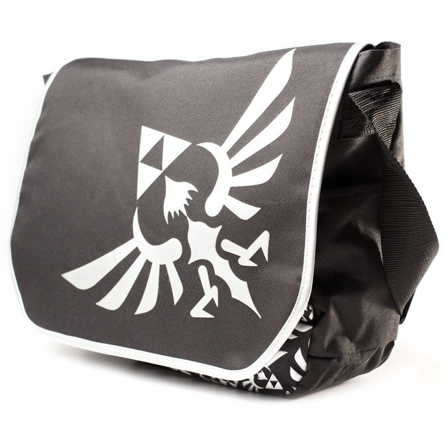 NINTENDO Legend of Zelda Royal Crest Logo Messenger Bag, Black/White