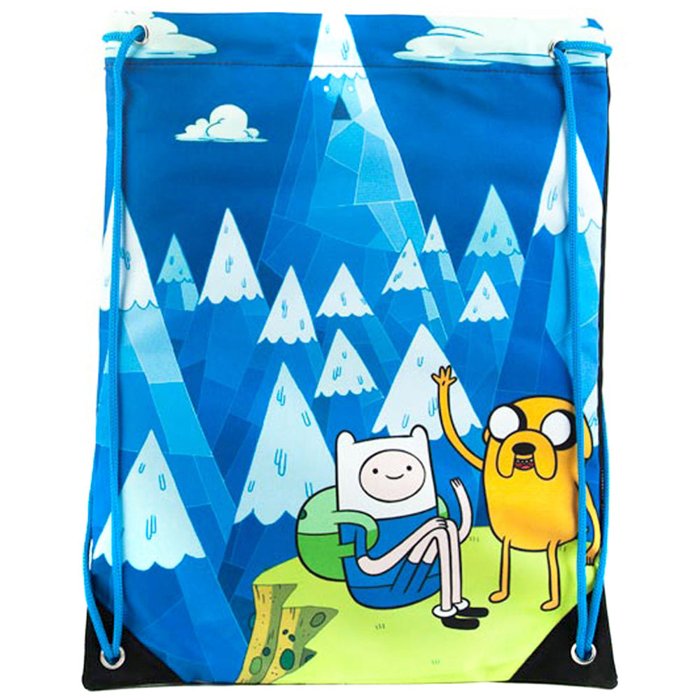 ADVENTURE TIME Jake and Finn Blue Mountain Drawstring Gym Bag, Blue