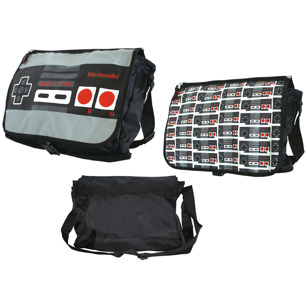 NINTENDO Original Classic Controller Reversible Flap Messenger Bag, Black (MB126894NTN)