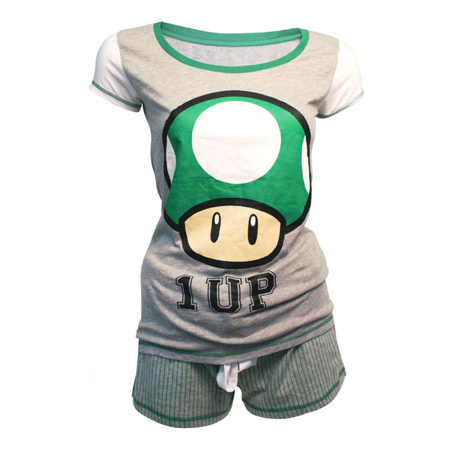 NINTENDO Super Mario Bros. Women's Green 1-UP Mushroom Shortama Nightwear Set