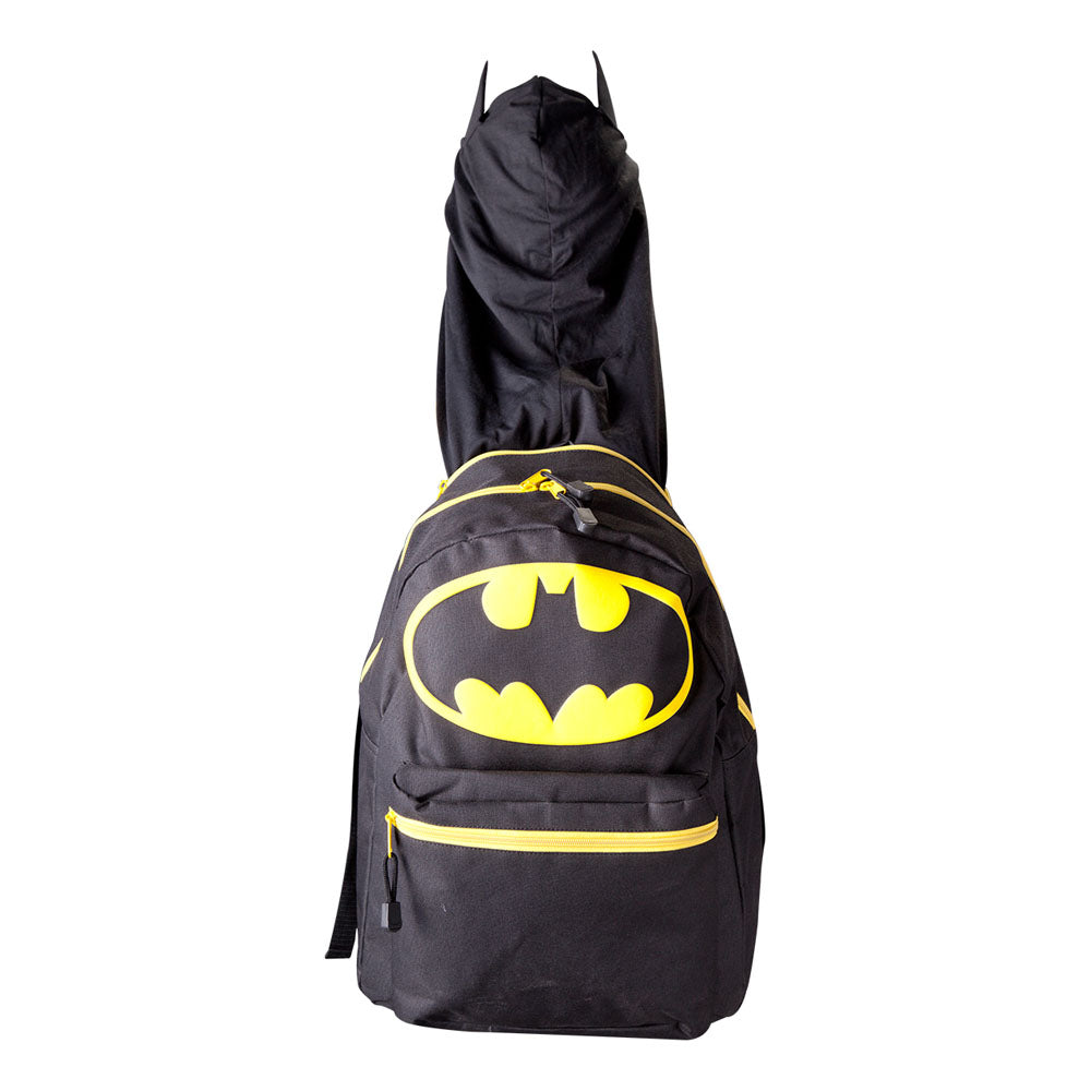 DC COMICS Batman Big Logo with Integrated Hood Backpack, Black (BP046SBTM)