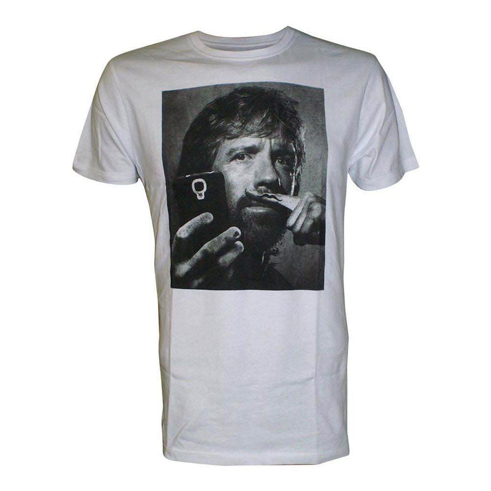 CHUCK NORRIS Selfie with Moustache Finger Men's T-Shirt, Extra Large, White (TS208002CNO-XL)