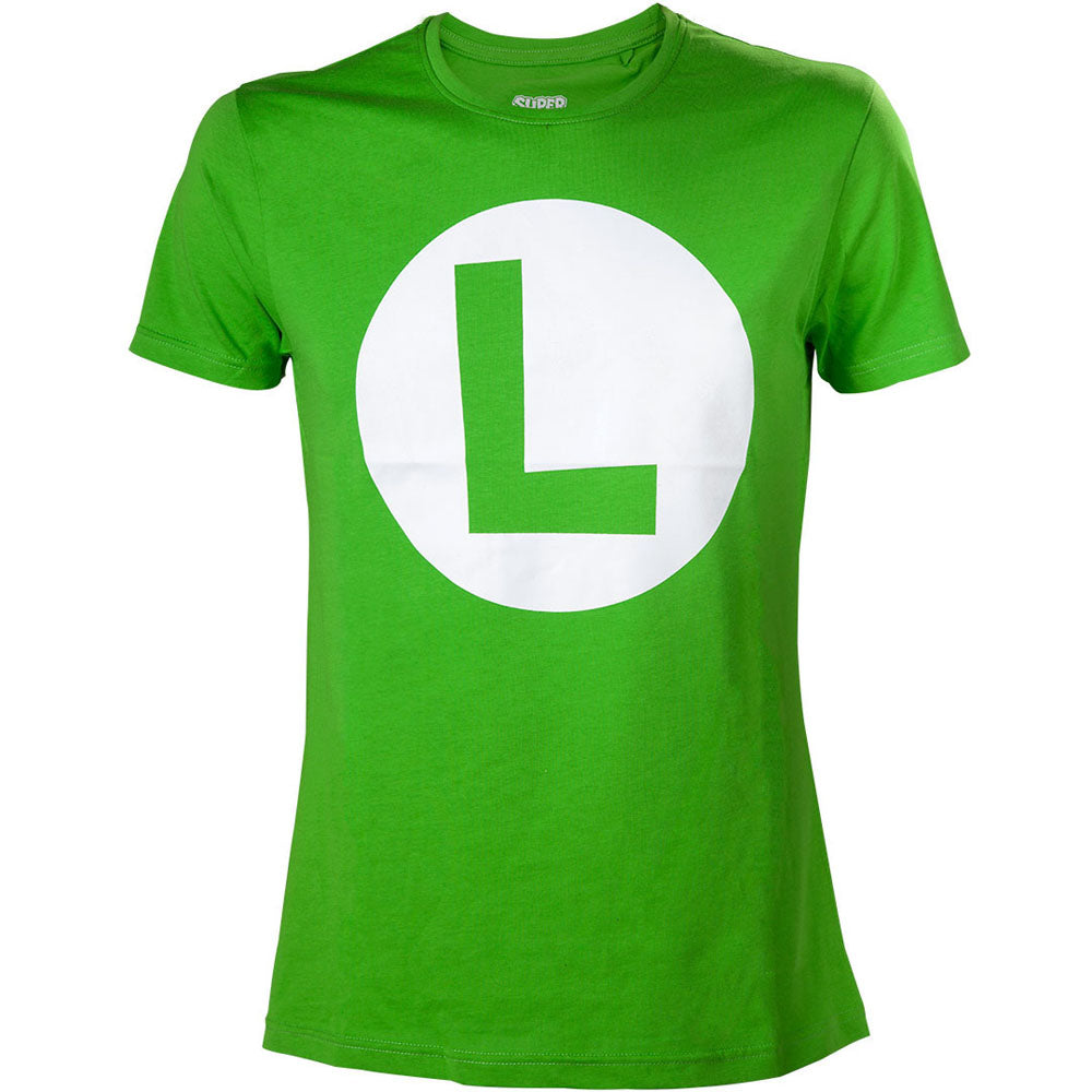 NINTENDO Super Mario Bros. Big Luigi Logo Men's T-Shirt, Extra Large, Green (TS313154NTN-XL)