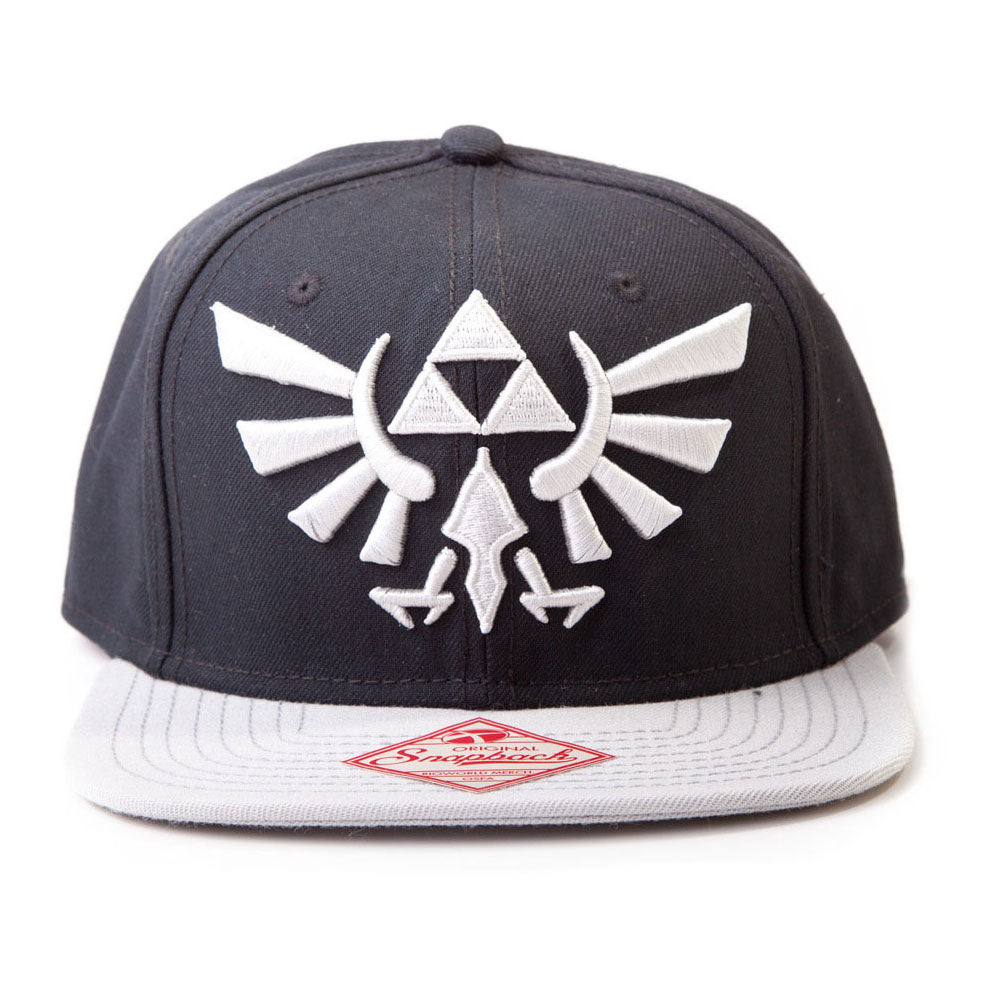 NINTENDO Legend of Zelda Twilight Princess Embroidered Royal Crest Logo Snapback Baseball Cap, One Size, Black/Grey (BA180123NTN)