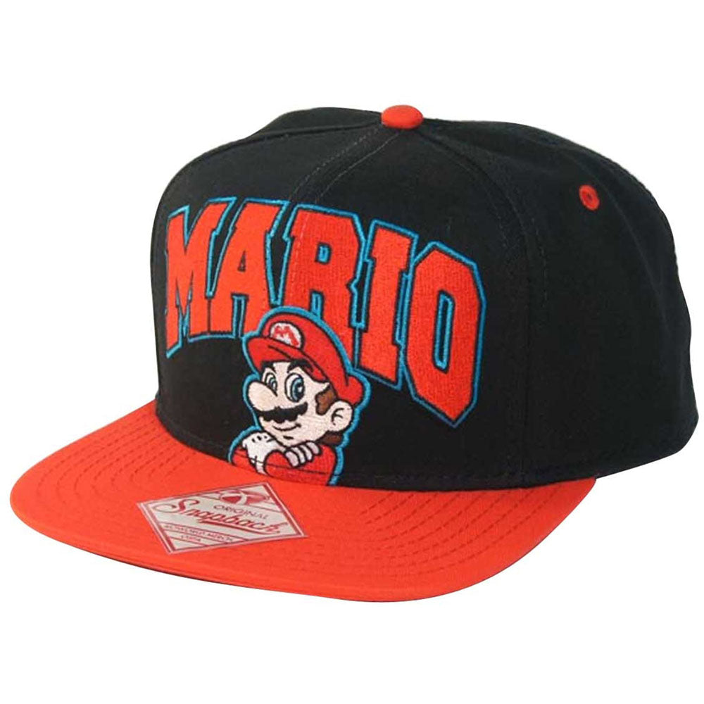 NINTENDO Super Mario Bros. Embroidered Mario Logo & Character with Luminous Colours Snapback Baseball Cap, One Size, Black/Red (SB0GDESMB)