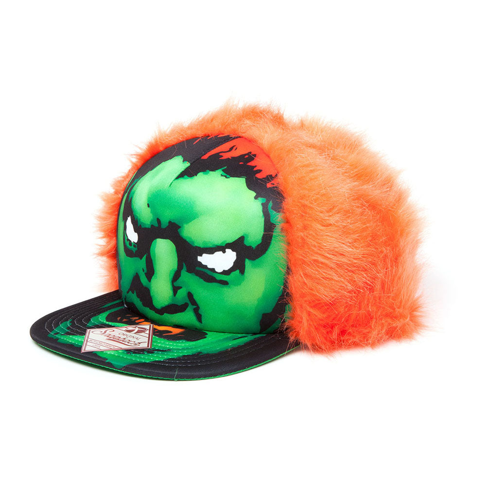 CAPCOM Street Fighter Blanka Character Face with Orange Hair Snapback Baseball Cap, One Size, Black/Green/Orange