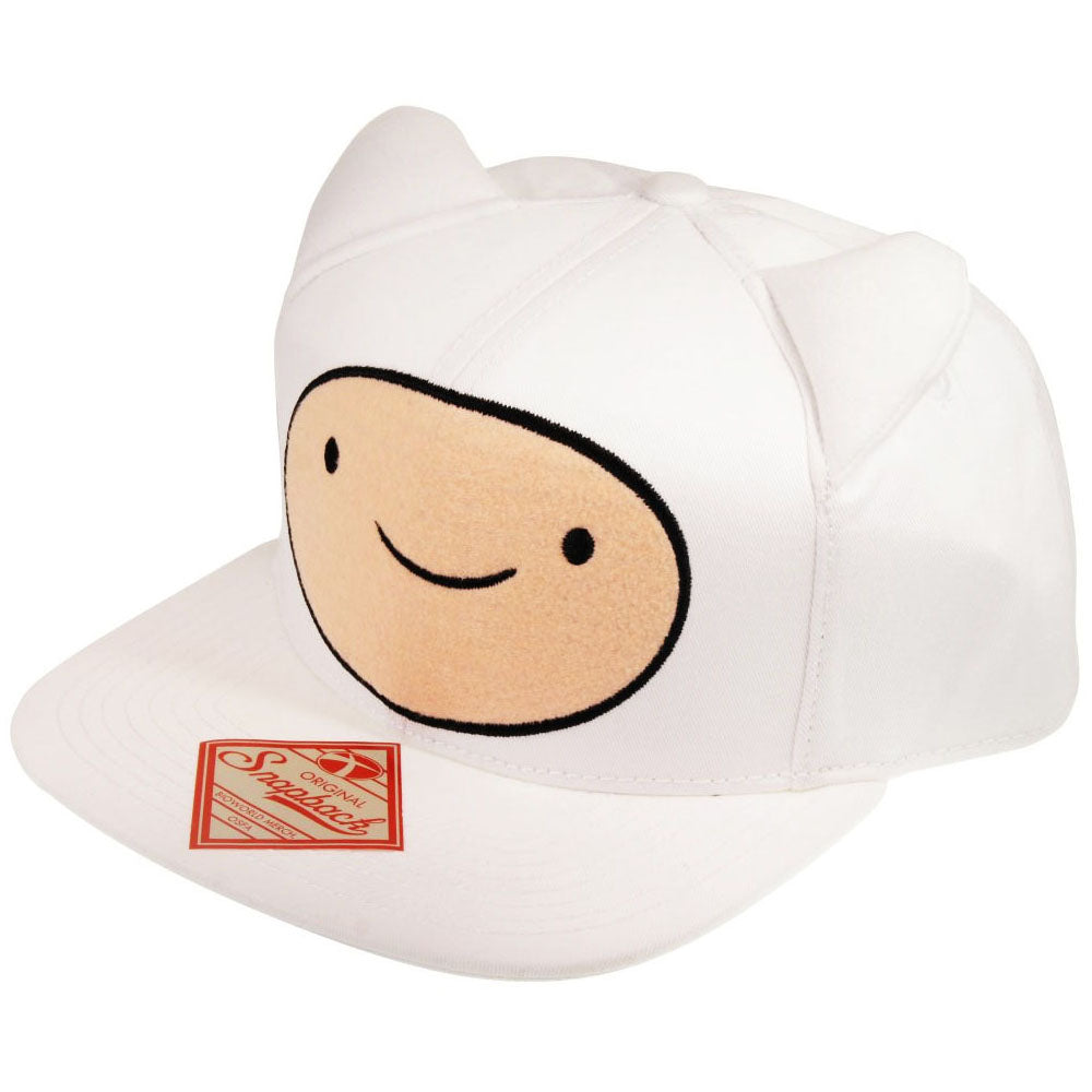 ADVENTURE TIME Finn Face with Ears Snapback Baseball Cap, One Size, White