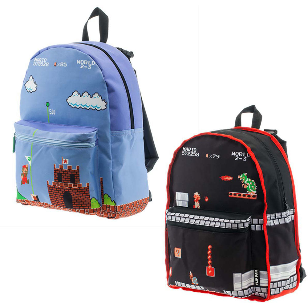 NINTENDO Super Mario Bros. Classic Mario Gameplay Reversible Backpack, One Size, Black/Blue (BP1K0JSMS)