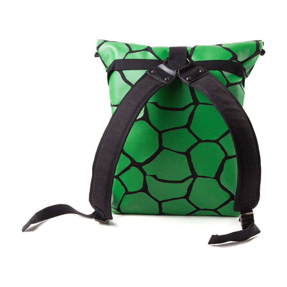TEENAGE MUTANT NINJA TURTLES (TMNT) Folded Shell with Logo and Cross Strap Detail Backpack, One Size, Green/Black