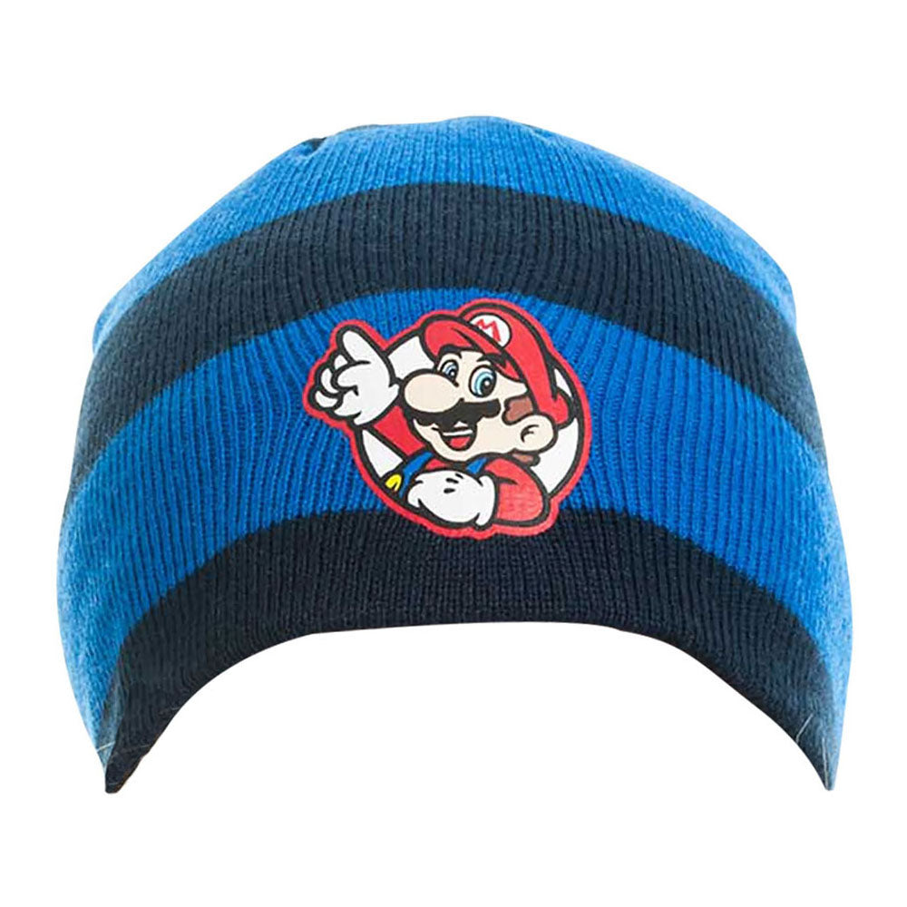 NINTENDO Super Mario Bros. Striped Mario Badge Beanie, One Size, Blue/Black (KC08M0SMB)