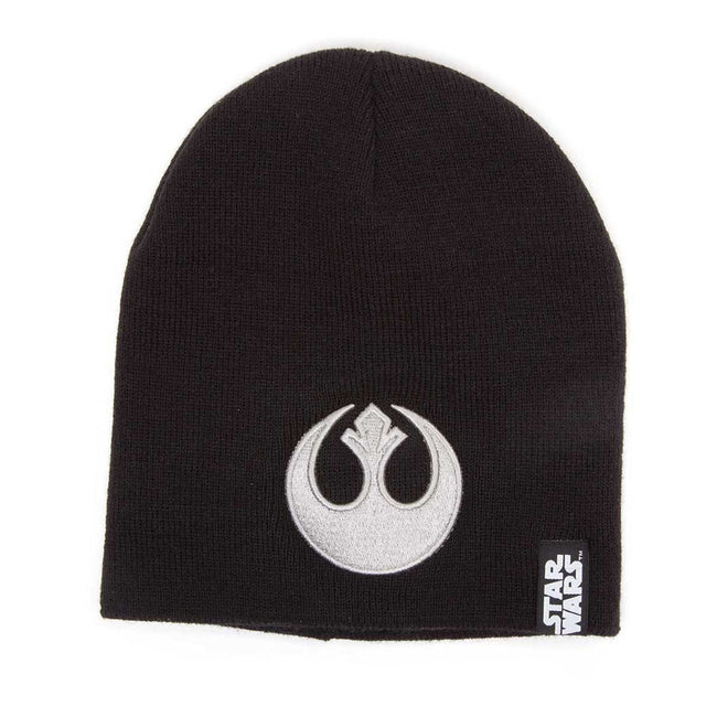 STAR WARS Embossed Rebel Logo Beanie, One Size, Black/Silver