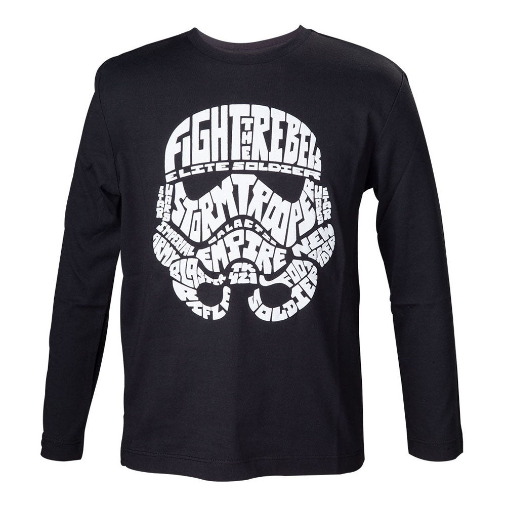 STAR WARS Kids Unisex Stormtrooper Word Play Long Sleeved T-Shirt, 110/116, Black (TSY11991STW-110/116)