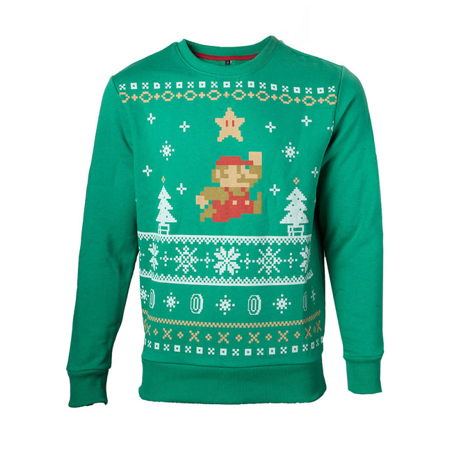 NINTENDO Super Mario Bros. Men's Running Xmas Mario Christmas Jumper