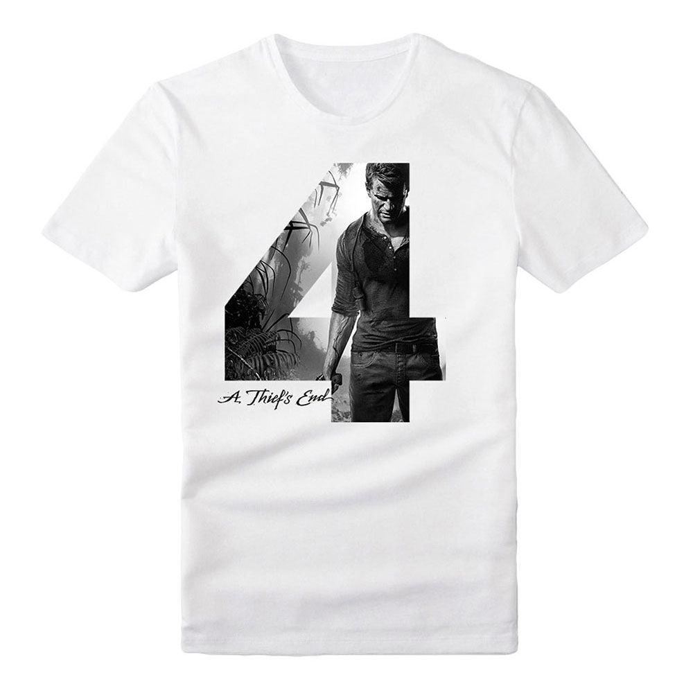 UNCHARTED 4 Adult Male Silhouette '4' A Thief's End T-Shirt, Extra Extra Large, White (TS282009UNC-2XL)