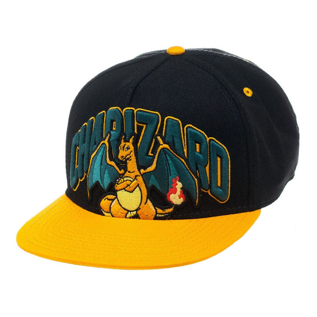 POKEMON Charizard Dragon Snapback Baseball Cap, One Size, Black/Orange (SB1EXDPOK)