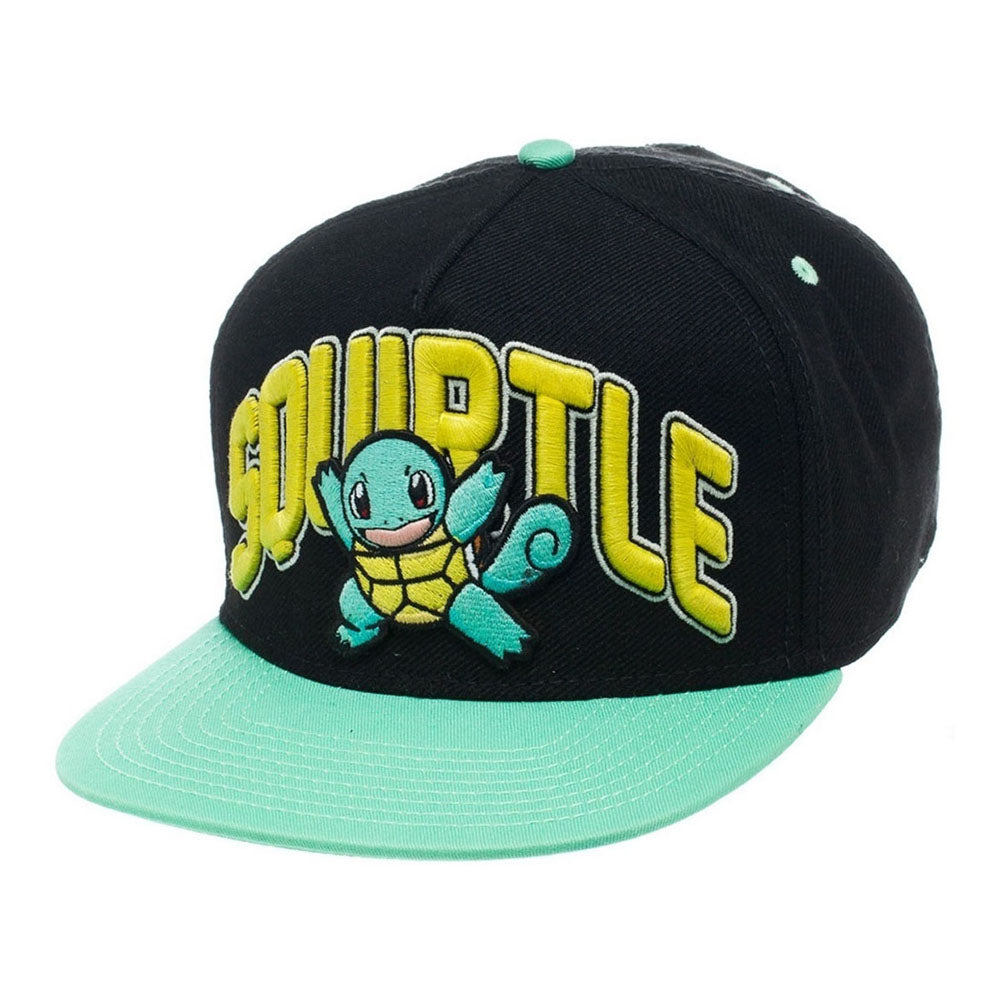 POKEMON Squirtle Snapback Baseball Cap, One Size, Black/Turquoise (SB1EXCPOK)
