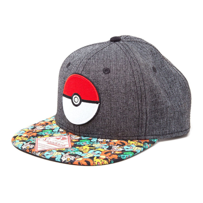 POKEMON 3D PokeBall & Pokemon Snapback Baseball Cap, One Size, Multi-Colour (SB2H6EPOK)