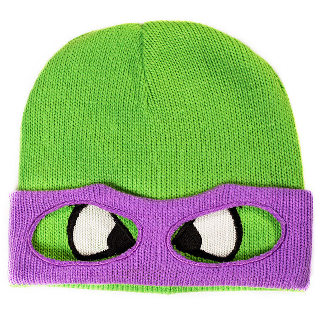 TEENAGE MUTANT NINJA TURTLE (TMNT) Donnie Face & Mask Cuffless Beanie, One Size, Green/Purple (KC07QQTMT)