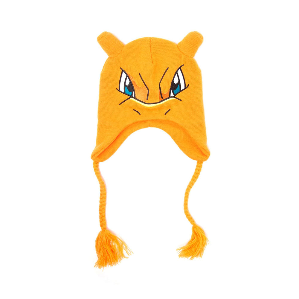 POKEMON Charizard Face & Ears Laplander Earflap Beanie, One Size, Orange (KC1B17POK)