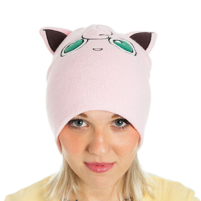 POKEMON Jigglypuff with Ears Cuffless Beanie Hat, One Size, Pink (KC1TEVPOK)