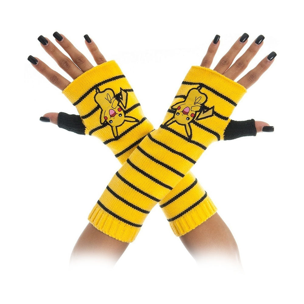 POKEMON Pikachu Striped Fingerless Gloves, One Size