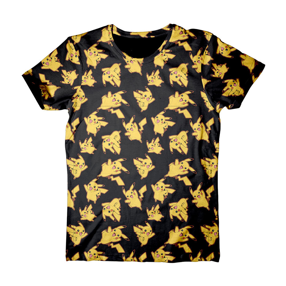 POKEMON Adult Male Pikachu All-Over Print T-Shirt, Extra Large, Black (TS120308POK-XL)